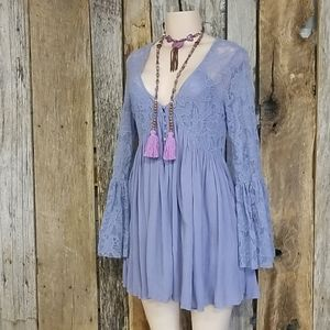 FREE PEOPLE LAVENDER/ BLUE LACE & FABRIC DRESS!